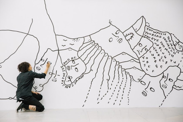 3 Shantell Martin - Someday We Can - working on Mural TBT - Albright-Knox