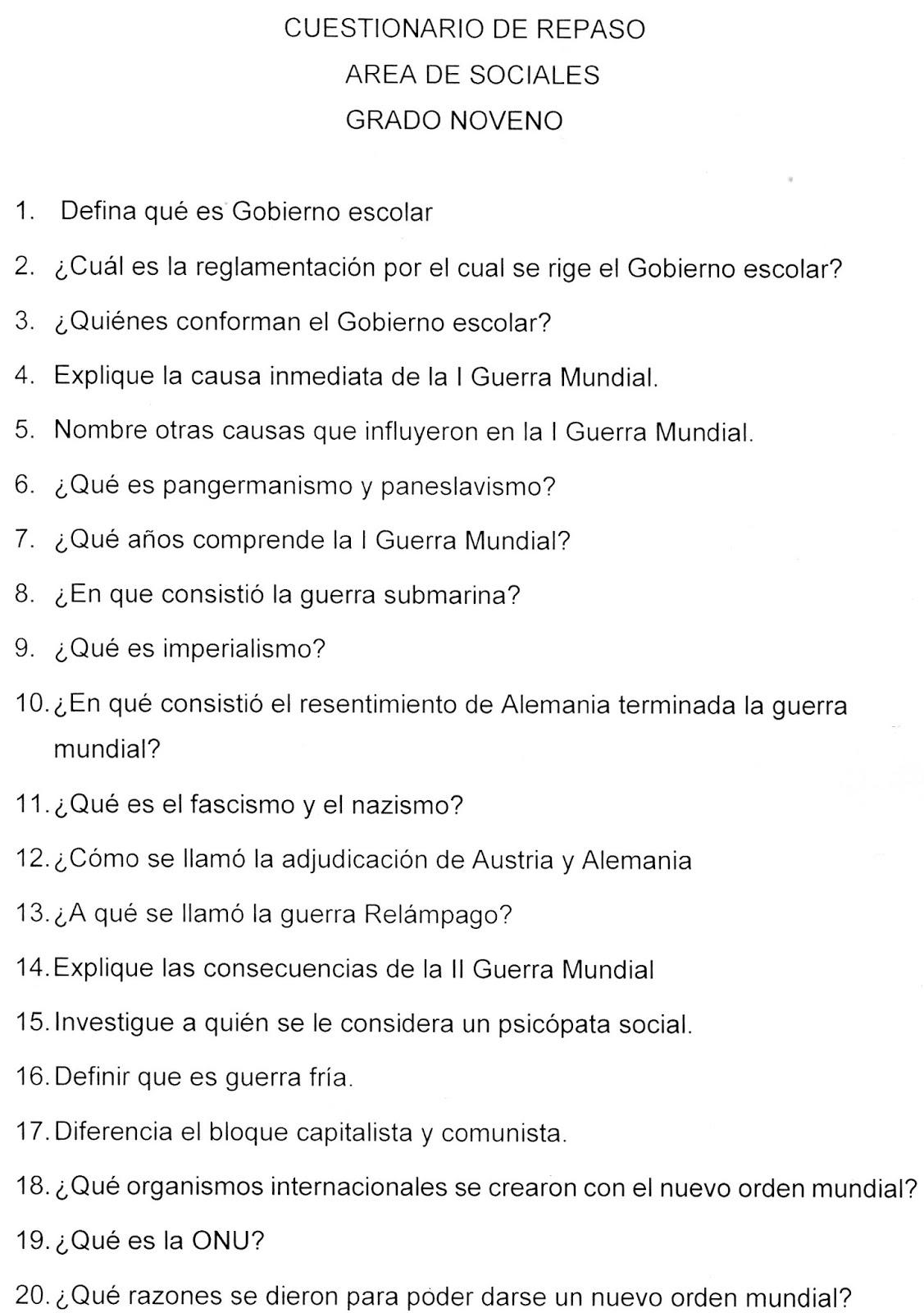 Grado Noveno Cuestionario De Sociales