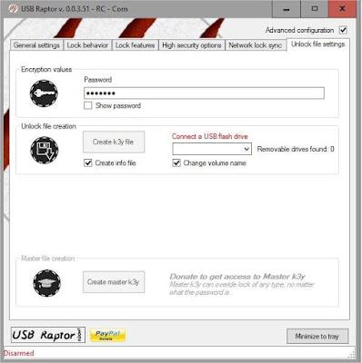 برنامج USB Raptor  يمكنك من فتح واغلاق الكمبيوتر بواسطة الفلاشة