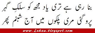 Bana Rahi Hai Tere Yaad Mujhy Silk-e-Gehar Pero Gaye Mere Palkon MAin Aaj Shabnam Phir
