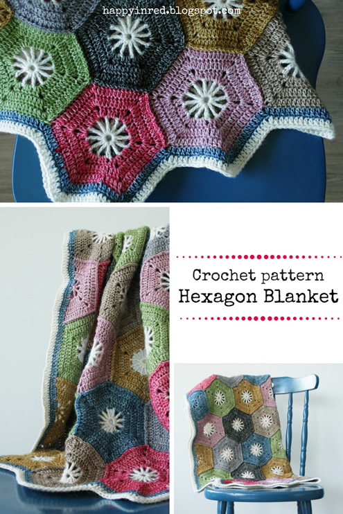 Crohet hexagon blanket, Scheepjes Stonewashed: free tutorial | Happy in Red