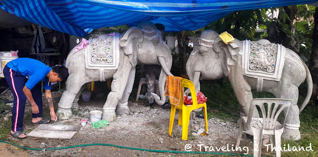 Casting elephants at the Wat Ming Muang in Chiang Rai, Thailand