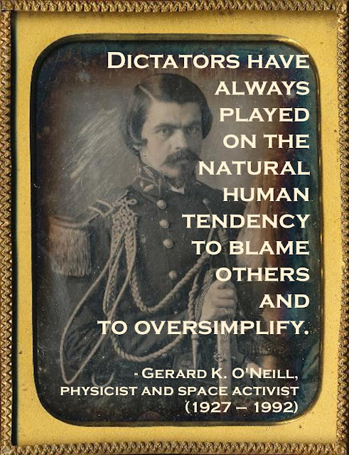 Daguerreotype portrait hand colored c.1850s. 2nd Lieutenant with a severe hairstyle. Quote by O'Neill re dictators. Armchair General and other stories of The Better Defense. marchmatron.com