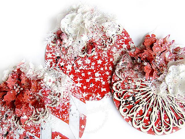 trzy bożonarodzeniowe kartki wykonane przez Ki