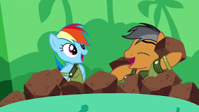 Rainbow Dash and Quibble Pants in the rock/ball pit