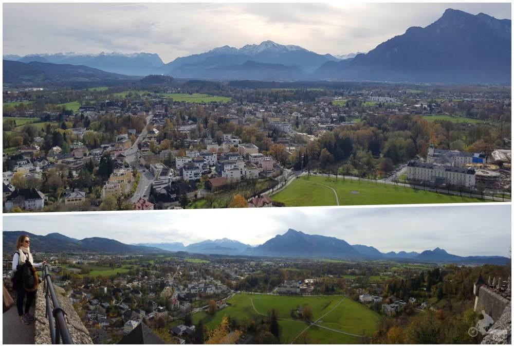 vistas de las montañas de salzburgo desde el castillo