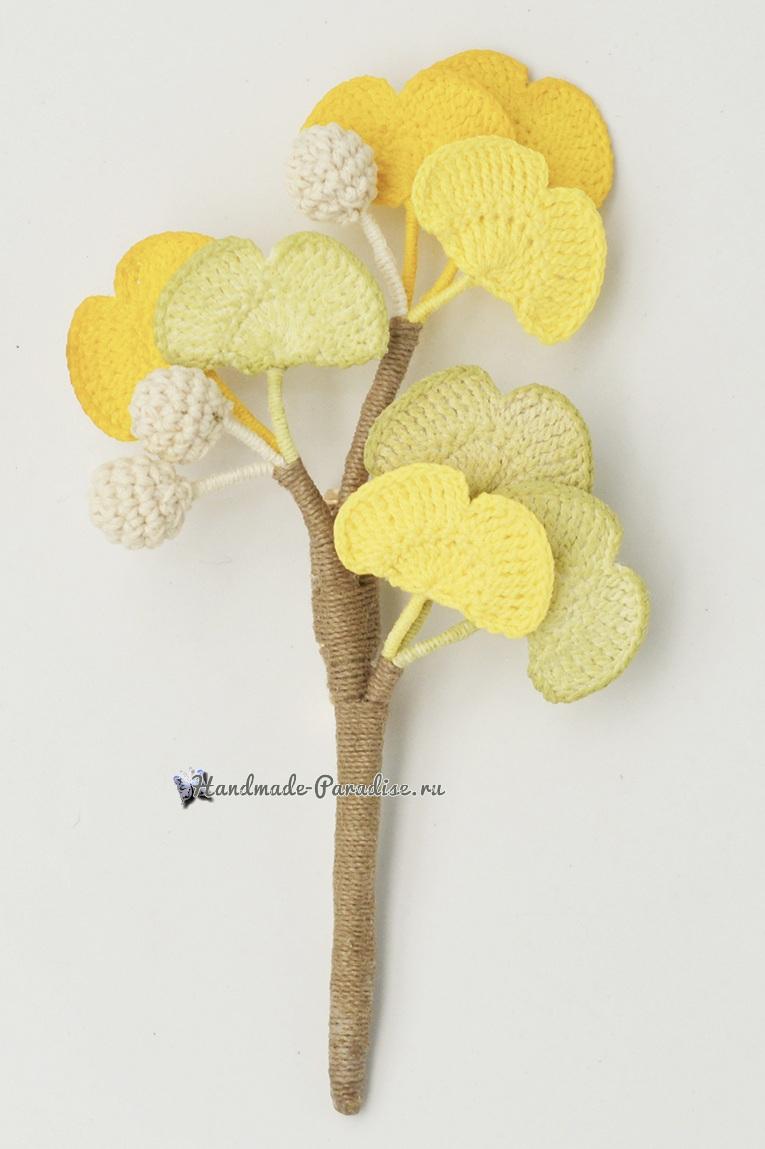 Схемы вязания цветов гинкго билоба (2)