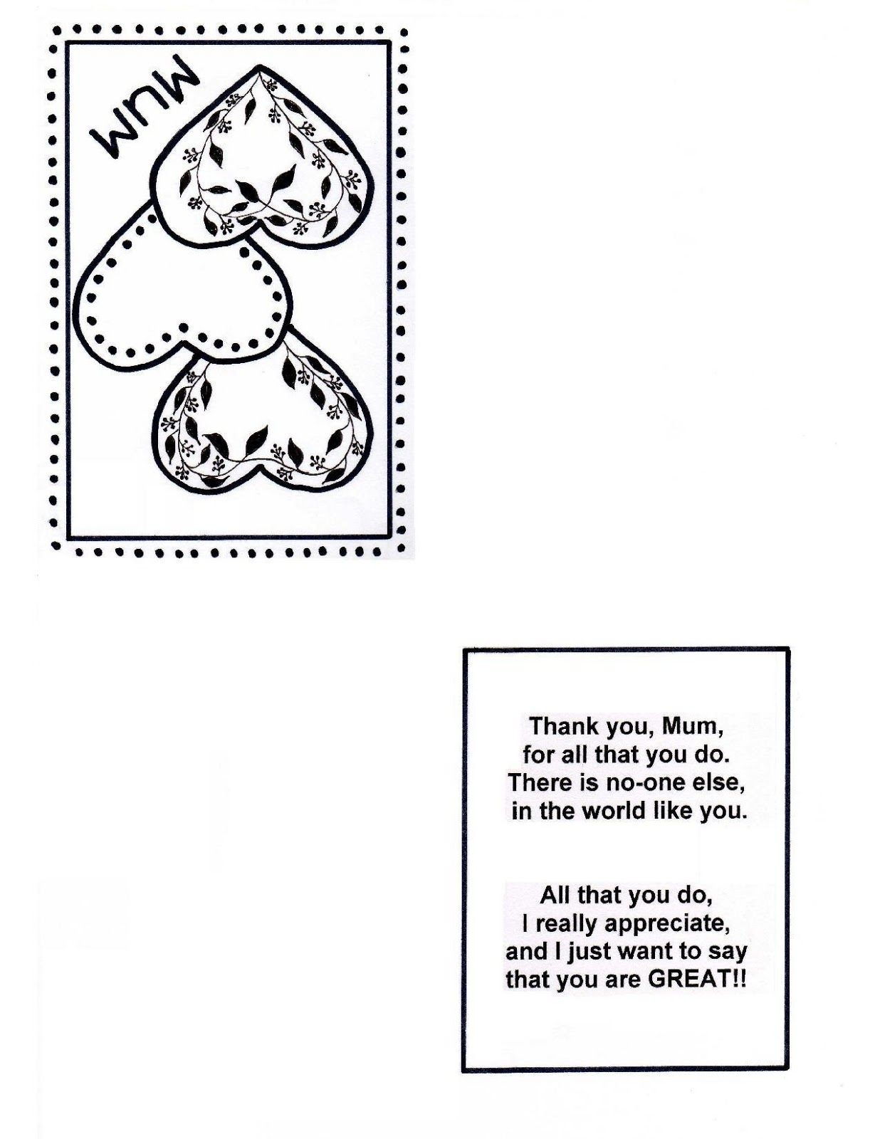 early play templates: Free Mother's Day Heart Cards