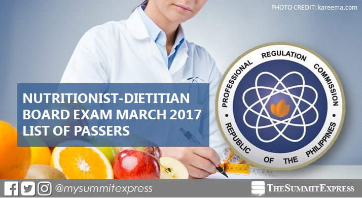 List of Passers: March 2017 Nutritionist Dietitian board exam results