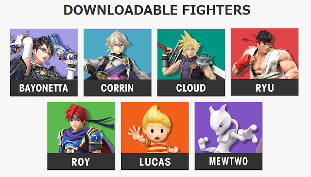 Super Smash Bros. 4 Wii U 3DS downloadable fighters DLC roster