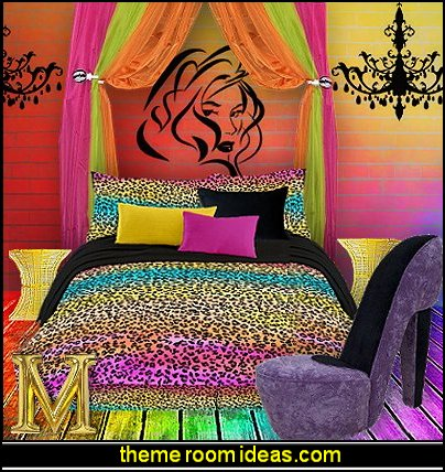 rainbow colors animal print style decorating-teen boho chic style decorating ideas