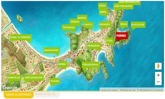 Mapa de Búzios - Retirado do site: buziosonline.com.br