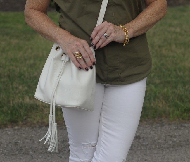 jcrew factory bucket bag, julie vos jewelry