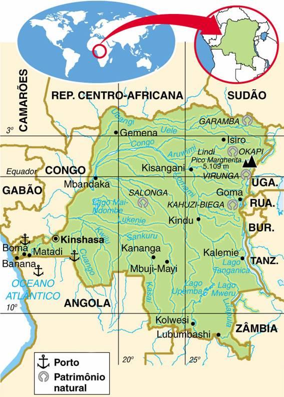 República Democrática do Congo | Mapas Geográficos da República Democrática do Congo