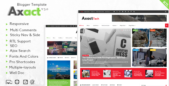 Free Download Axact V3.0 - Responsive Magazine Blogger Template