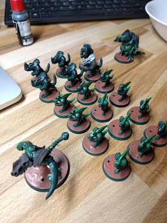 Start of basing on the lizards