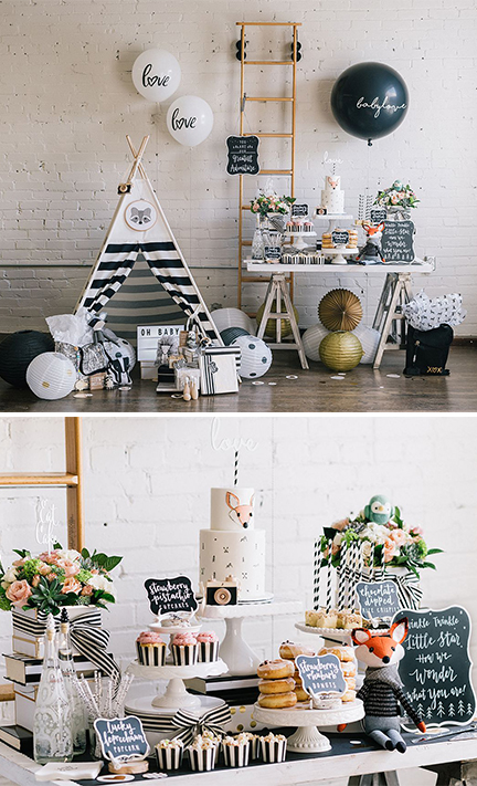 modern wilderness baby shower - sweet table | creativebag.com