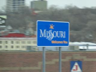 blurry Missouri sign