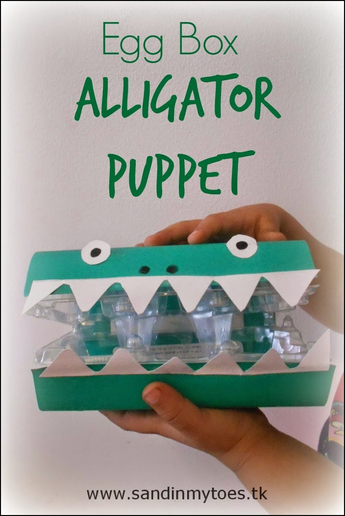 Egg Box Alligator Puppet craft for kids