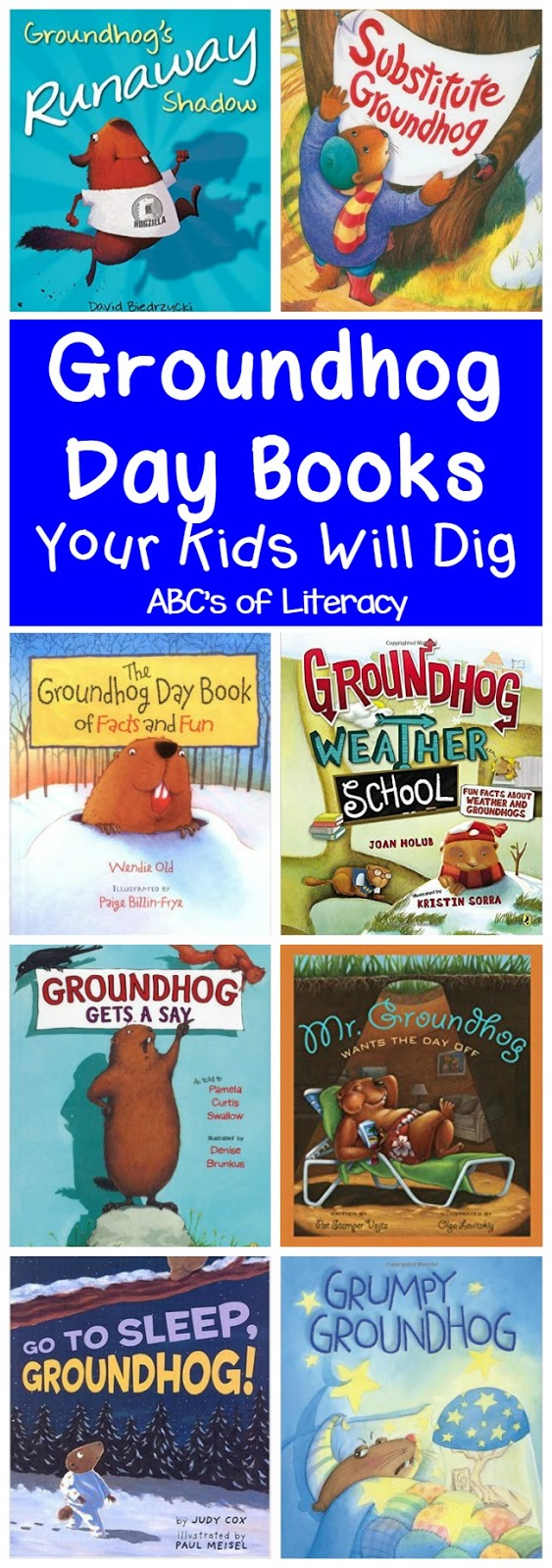 Abc scrapbook ideas list - Abc S Of Literacy Put Together A Great List Of Books To Help Celebrate Groundhog Day