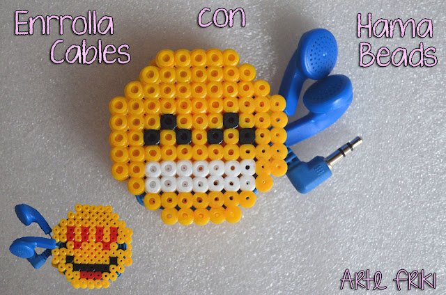 enrolla cables hama beads perler pissla headphone cord organizer emoji emoticons whatsapp chat how to diy hazlo tu mismo