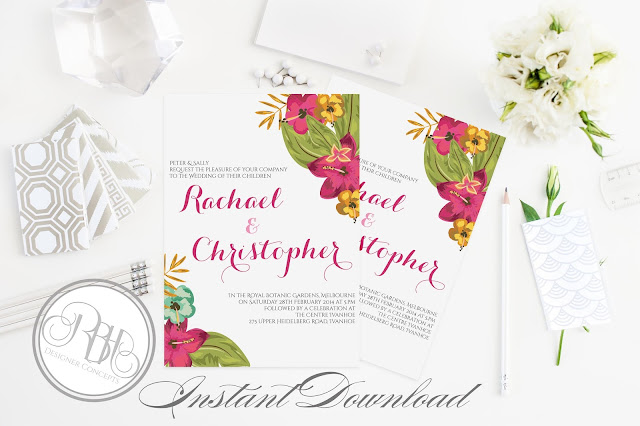 tropical watercolour invitation pink hibiscus-island wedding-matilda
