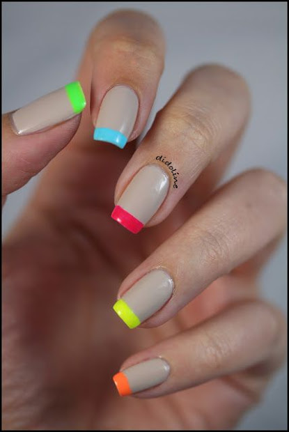 french nail art with rainbow tips