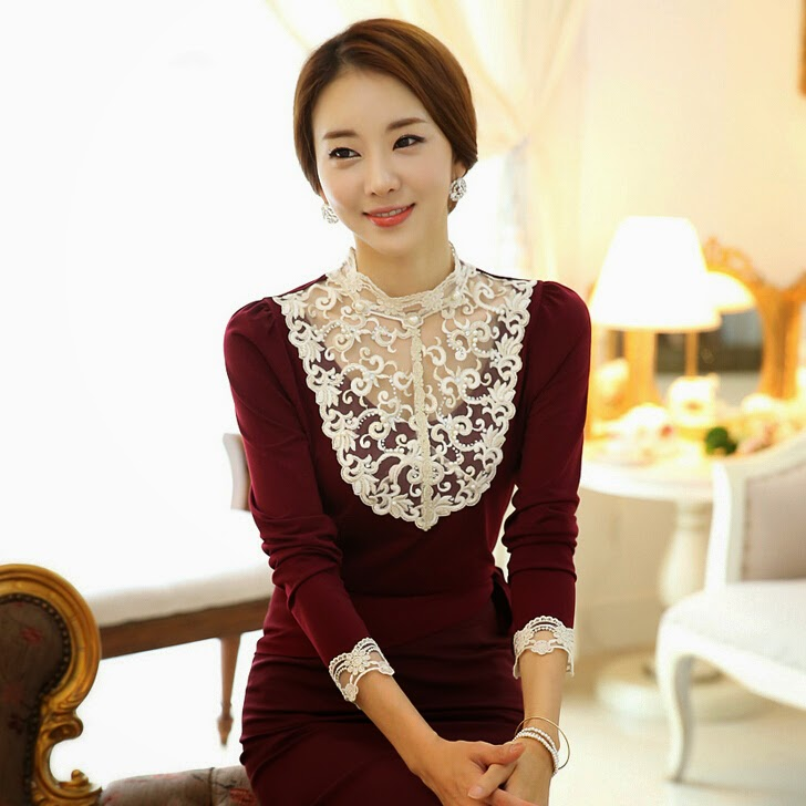 Office Style Crochet Lace Patchwork Long Sleeve