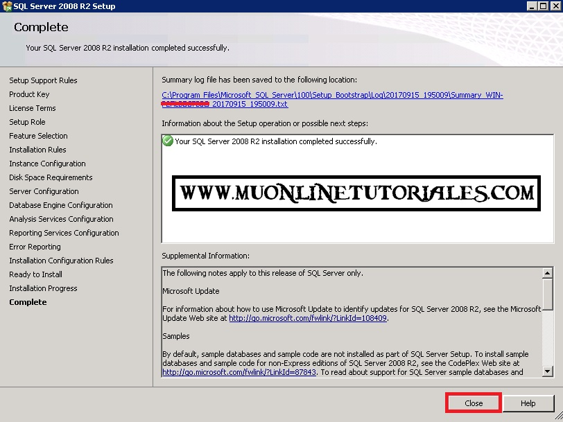 Instalacion finalizada SQL 2008