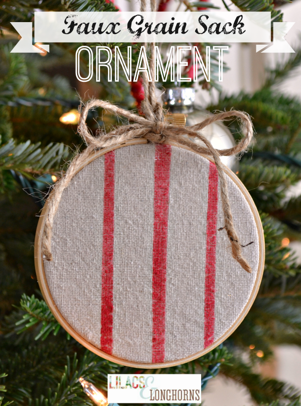 Lilac & Longhorns- Faux Grain Sack Christmas Ornament-Treasure Hunt Thursday- From My Front Porch To Yours