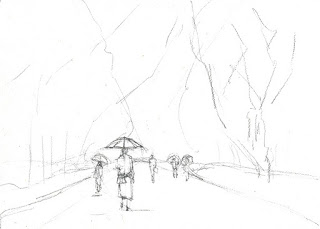 雨の公園 簡単な鉛筆スケッチ