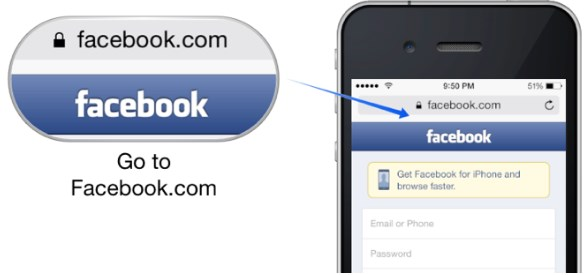 facebook full site login iphone