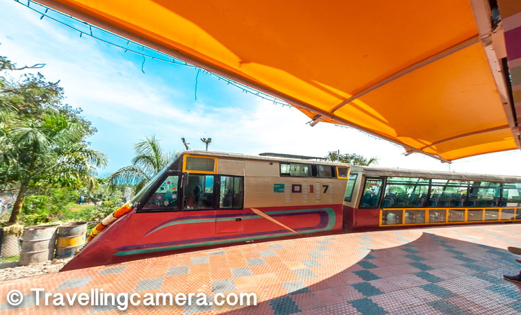 This is the toy train that comes to Kailashgiri hill and takes a pause for lunch. It's a beautiful scene when this train roams around the hill and there are some seating places from where the train looks just awesome with ocean in the background.