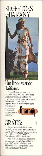 propaganda corantes Guarany para roupas; moda anos 70; propaganda anos 70; história da década de 70; reclames anos 70; brazil in the 70s; Oswaldo Hernandez