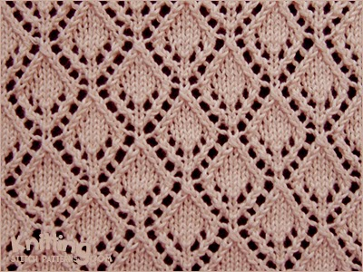 Openwork Lace Knitting Pattern : Openwork Diamonds - Pattern 2 Knitting Stitch Patterns