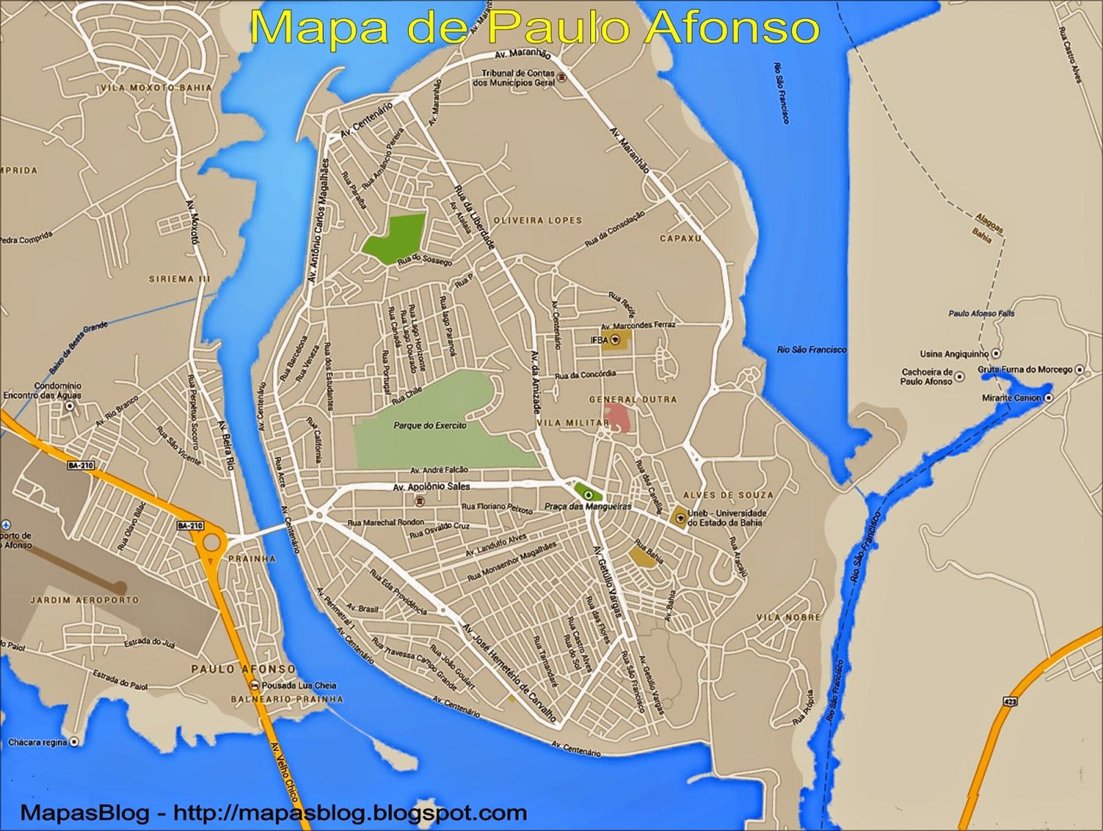 Resultado de imagem para mapa de paulo afonso
