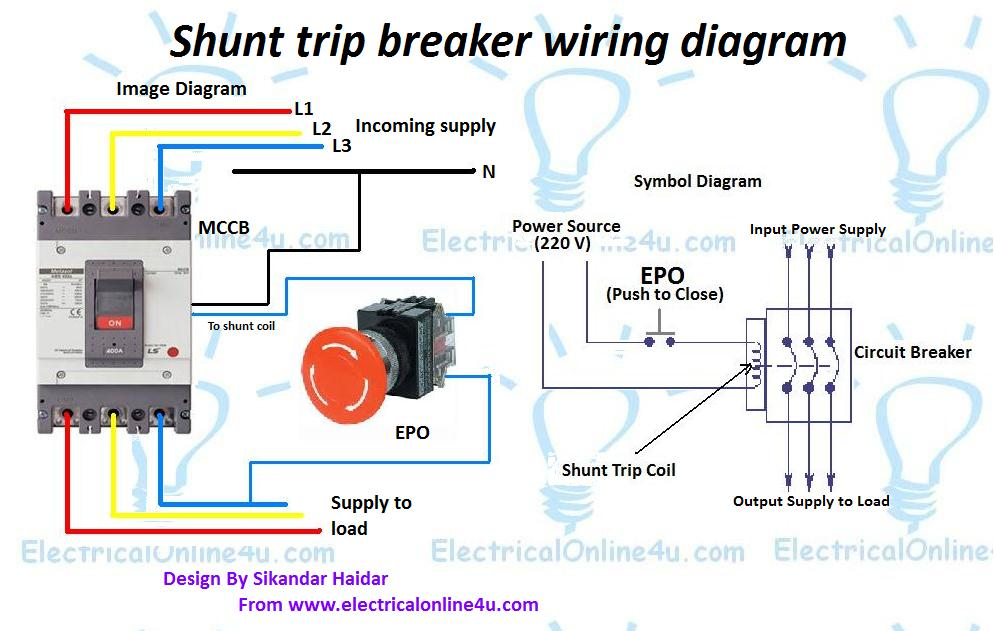 shunt trip breaker wiring diagram explanation electrical online 4u rh electricalonline4u com wiring diagram for brake switch relay wiring diagram for brakes on 2012 f150