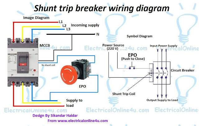 Shunt Trip Breaker Wiring Diagram Explanation | Electrical Online 4u