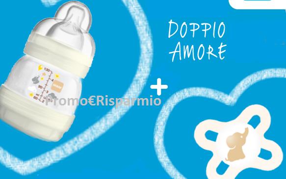 Logo Doppio Amore di MAM: Biberon 130 ml + Succhietto Start Nanò a euro 4,99