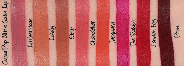 ColourPop Ultra Satin Lip - Littlestitious, Likely, Strip, Chandelier, Jacquard, The Rabbit, London Fog, Prim Swatches & Review