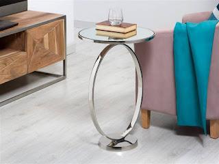 mesa auxiliar estilo actual en color plata