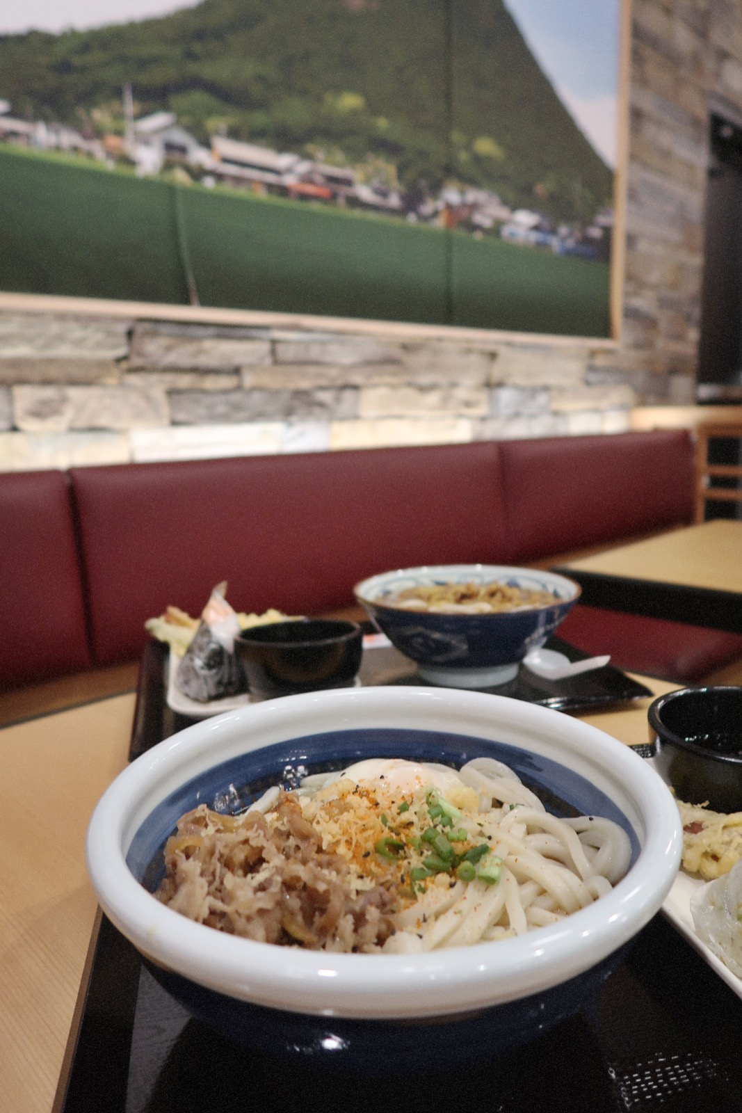 Big bowls of Marugame Udon: Nikutama and Curry Noodle Udon.