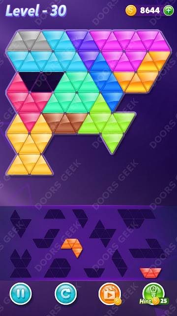 Block! Triangle Puzzle 12 Mania Level 30 Solution, Cheats, Walkthrough for Android, iPhone, iPad and iPod