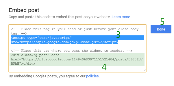 google plus script codes to integrate post