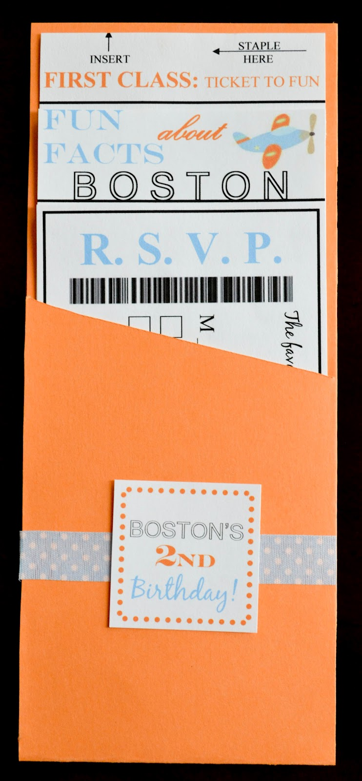 Beautiful Our Love and Our Blessing: Homemade Invitations: Boarding Pass Style MA03