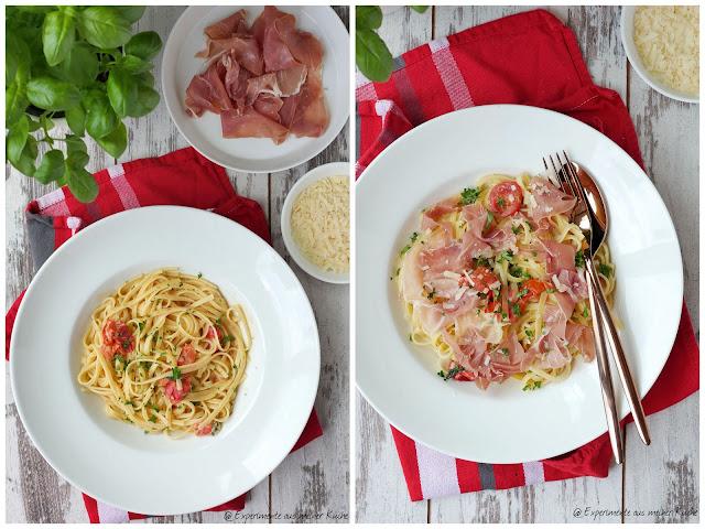 Pasta mit Grana Padano und Prosciutto di San Daniele | Rezept | Kochen