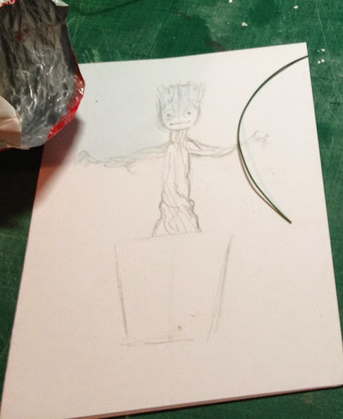 The rough sketch I used to plan my Groot build