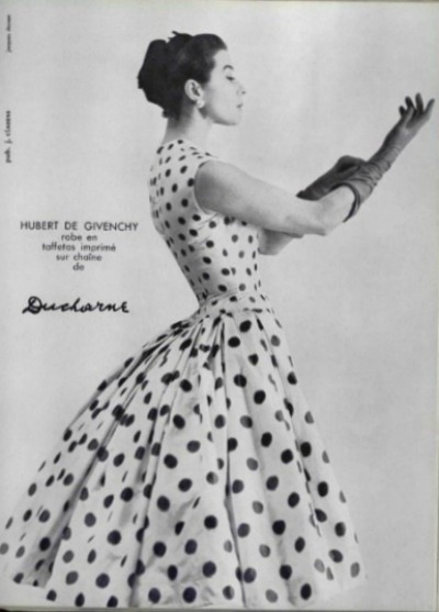 Model in Polka Dot Dress for Givenchy 1955 advertisement