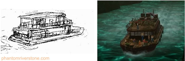 The river boat: concept sketch vs actual game