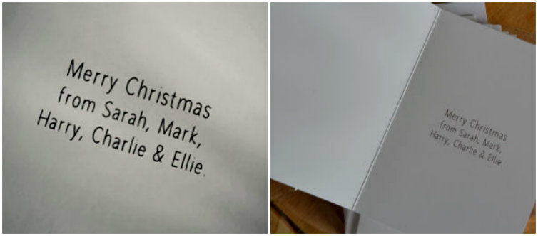 Personalised Christmas cards @ ups and downs, smiles and frowns.